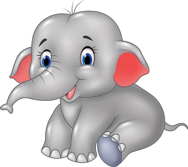 Seduta sveglia dell'elefante del bambino isolata su fondo bianco