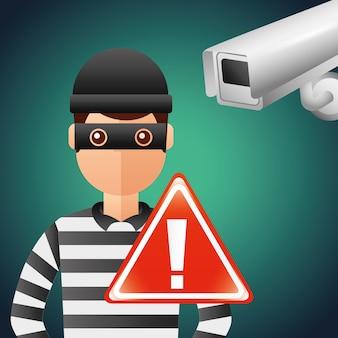 Segnale di avvertimento di sicurezza telecamera ladro cyber sicurezza