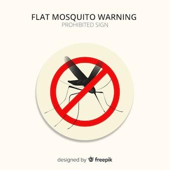 Segnale di avvertimento zanzara con design piatto