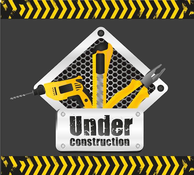 Segnale in costruzione sul nero con segnaletica gialla