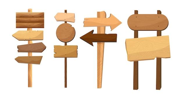 Segnali di direzione in legno. tavola vintage