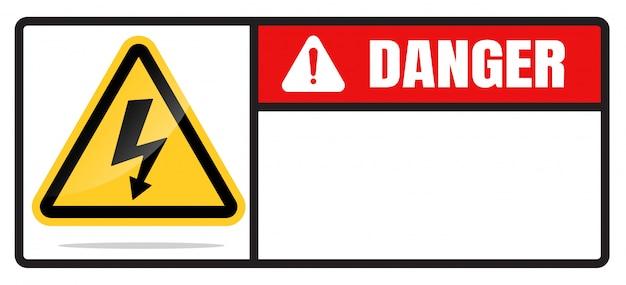 Segnali di pericolo di alta tensione isolati su uno sfondo bianco
