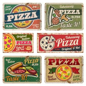 Segni d'annata del metallo della pizza con l'insieme di vettore di struttura del grunge. poster di cibo retrò in stile anni '50