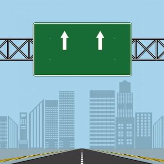 Segni della strada principale della strada, bordo verde sulla strada, illustrazione di vettore