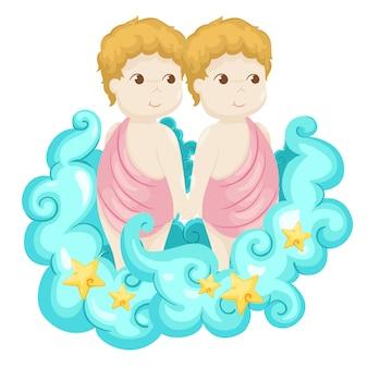 Segni dello zodiaco - illustrazione di vettore dei gemelli