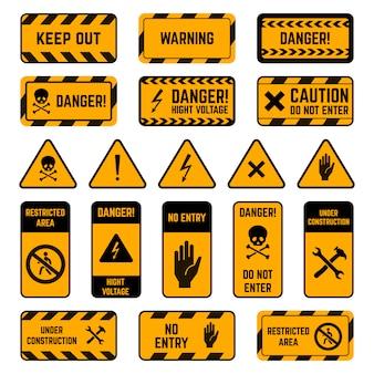 Segni di attenzione. nastro giallo e nero di avvertimento di pericolo, set di simboli di elementi di perimetro di sicurezza ad alta tensione a strisce a rischio biologico avvelenato. punto esclamativo di sicurezza, illustrazione della zona elettrica di attenzione