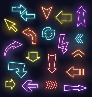 Segni di freccia al neon di puntatori luminosi incandescenti.
