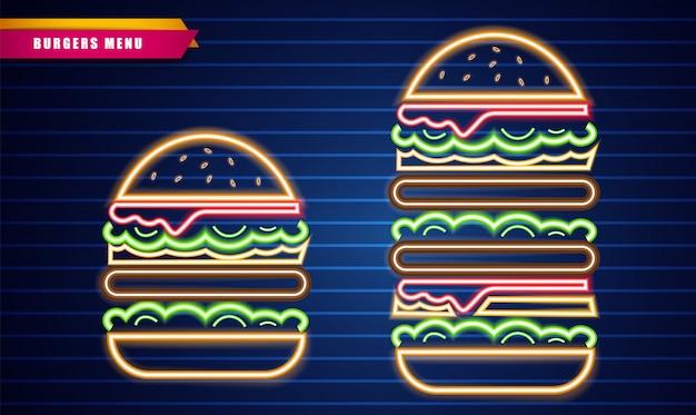 Segni di hamburger al neon