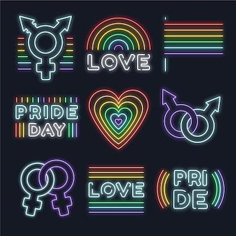 Segni di luci al neon del pride day