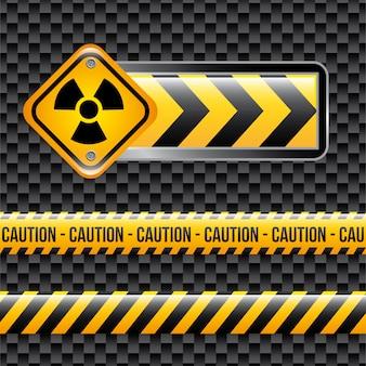 Segni di rischio biologico sopra illustrazione vettoriale sfondo nero