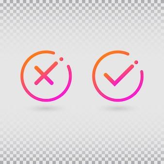 Segni di spunta impostati in moderni colori sfumati. segno di spunta e croce luminosi a forma di cerchio.