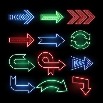 Segni di vettore di freccia di direzione al neon retrò