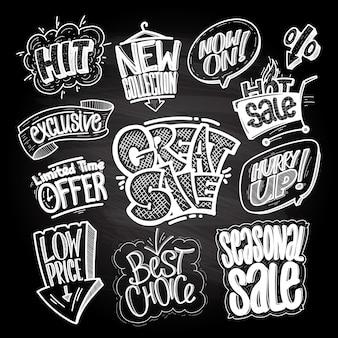 Segni e stampe di vendita disegnati a mano messi su una lavagna: grande vendita, hit, offerta a tempo limitato, prezzo basso, scelta migliore, ecc.