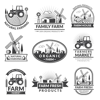 Segni ed etichette per il mercato agricolo. etichette monocromatiche con posto per il testo