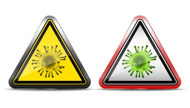 Segni premonitori di virus. icona illustrazione su sfondo bianco. in metallo e bordo rosso.