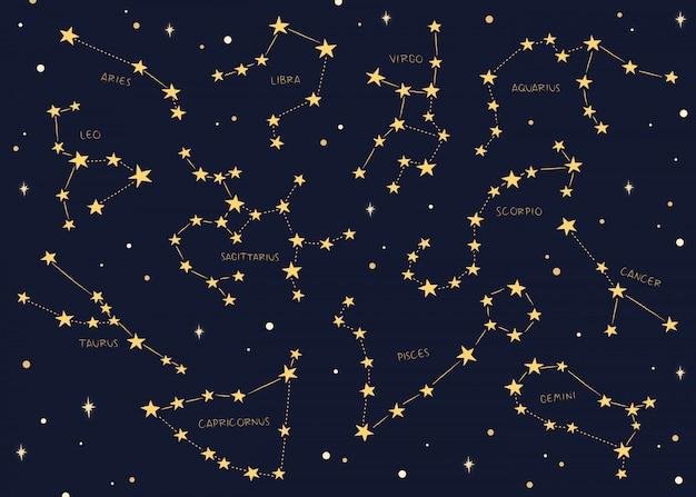 Segni zodiacali costellazioni sullo sfondo.