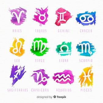 Segni zodiacali dell'acquerello