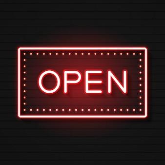 Segno al neon aperto. pronto per il tuo design