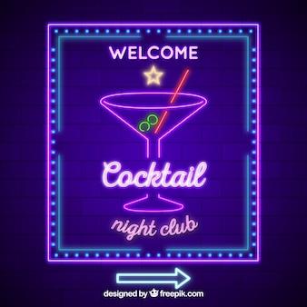 Segno al neon con forma di cocktail