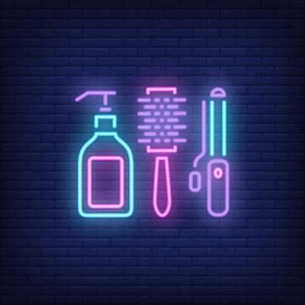 Segno al neon degli accessori di lavoro di parrucchiere