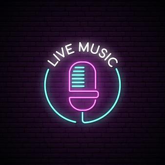 Segno al neon del microfono