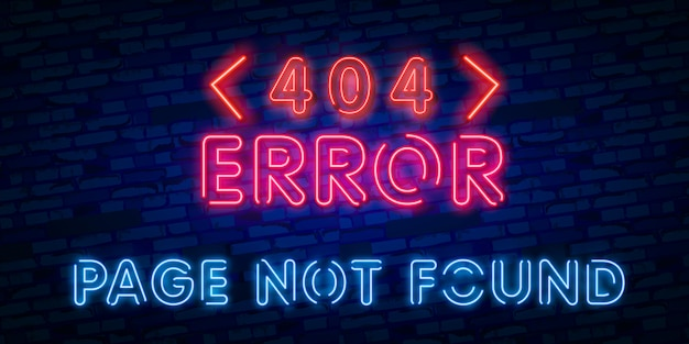 Segno al neon della pagina di errore 404 non trovato
