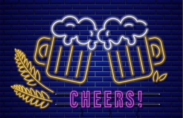 Segno al neon di bicchieri di birra