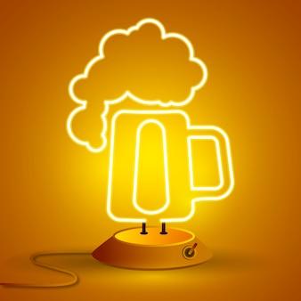 Segno al neon di birra