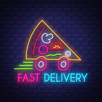 Segno al neon di consegna veloce di pizza