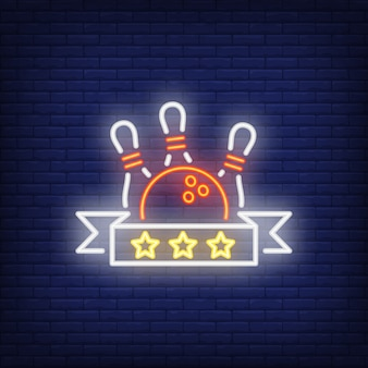Segno al neon di valutazione di bowling
