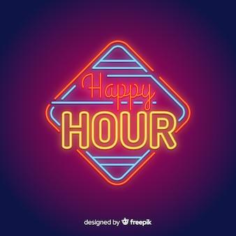 Segno al neon happy hour quadrato