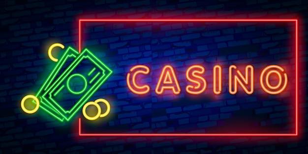 Segno al neon isolato realistico del casinò
