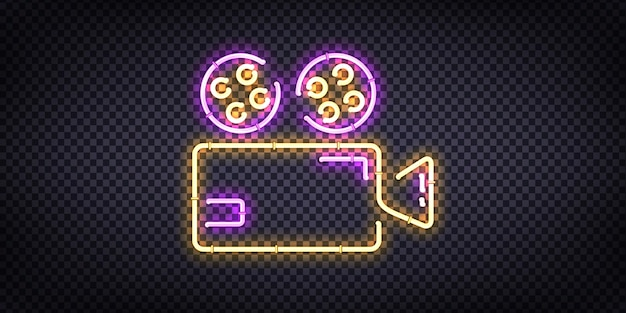 Segno al neon realistico del logo del cinema per la decorazione del modello e la copertura dell'invito sullo sfondo trasparente.