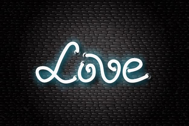 Segno al neon realistico di scritte d'amore per la decorazione e il rivestimento sullo sfondo del muro.