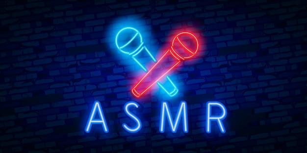 Segno al neon realistico realistico di asmr
