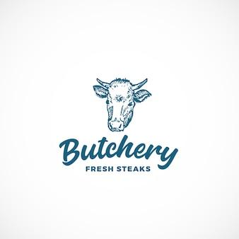 Segno astratto di macelleria di bistecca fresca, simbolo o modello di logo.