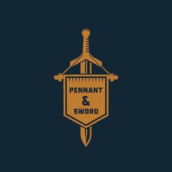 Segno astratto di pennant e spada, simbolo o modello di logo.