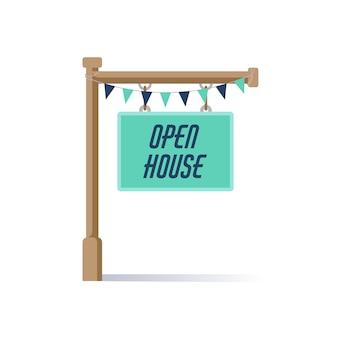 Segno blu casa aperta