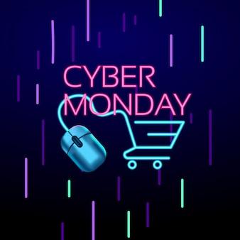 Segno concettuale di stile al neon colorato di cyber monday