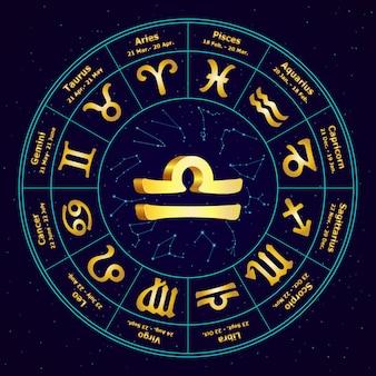 Segno d'oro della bilancia zodiacale in cerchio