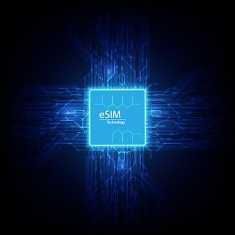 Segno del chip della carta esim. concetto sim incorporato. nuova tecnologia di comunicazione mobile e circuito stampato di sfondo del processore.