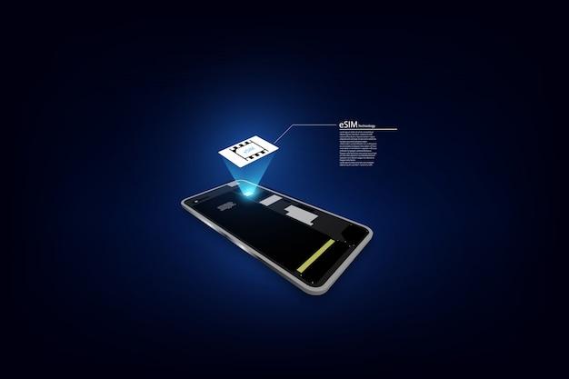 Segno del chip della carta esim. concetto sim incorporato. nuova tecnologia di comunicazione mobile.