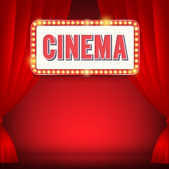 Segno del cinema con cartellone luminoso