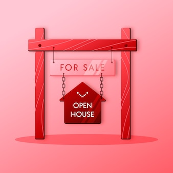 Segno di affari immobiliari casa aperta