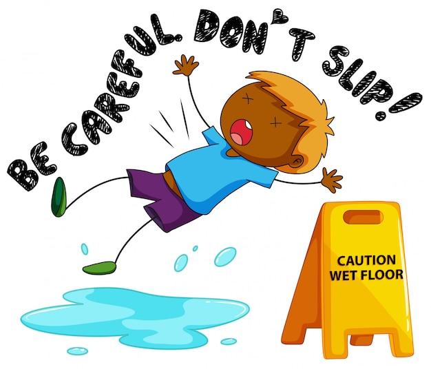 Segno di attenzione per il pavimento bagnato con la caduta del ragazzo