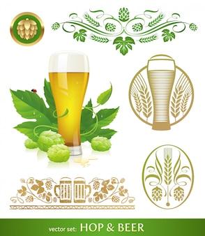 Segno di birra, luppolo e birra, simbolo, emblema, logo.