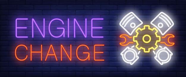 Segno di cambio motore in stile neon