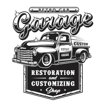 Segno di garage riparazione auto retrò con camion stile retrò.