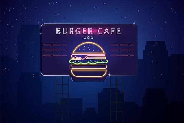 Segno di hamburger al neon