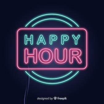Segno di happy hour di rettangolo al neon